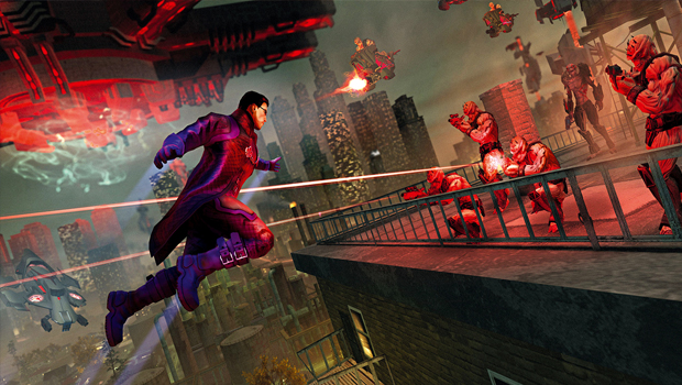 saints row 4, screenshot, Rooftop, Jumping, Jump, Roof,